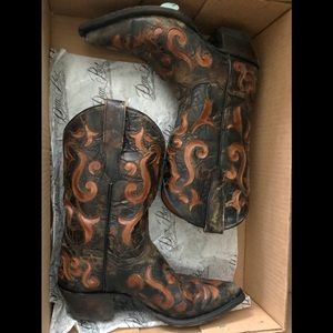 Dan Post Dark Brown Underlay Leather Cowboy Boots